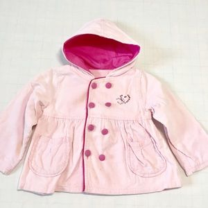Baby Girls Pink Double Button Front Trench Coat
